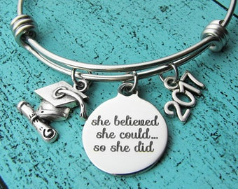 college graduation gift, for graduate, she believed she could so she did, high school graduation gift for her, senior student gift, congrats