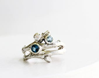 Diamond, Greenish Blue Sapphire and London Blue Topaz, 3 Stones Silver Twig Ring, Engagement Ring Set, Light Green Blue Sapphire Ring