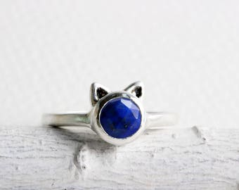 Lapis Cat Ring,Lapis Lazuli and Sterling Silver, Cat Fine Jewelry,MADE TO ORDER
