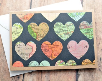Map Heart Note Cards // Set of 6 // Blank Cards // Love Letter // Stationary Set // Thinking of You // Travel Note Cards