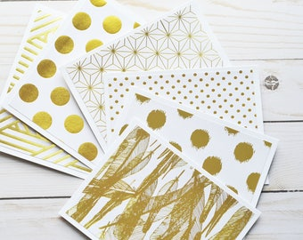 Gold & White Note Cards // Set of 6 // Blank Cards // Thank You Notes // Thinking of You Card // Goild Foil // Metallic Finish