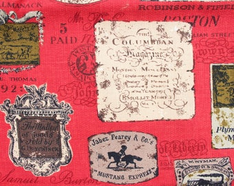 1960's Colonial Patchwork Upholstery Screen Printed Fabric on Red . Boston Baltimore Northeastern Settlers . Historical America USA