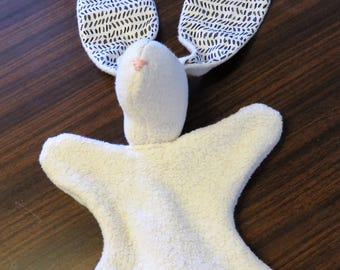 Baby Lovey Bunny Security Blanket Organic Fleece Bunny Ears Soft Baby Toy 100% Cotton  Black White