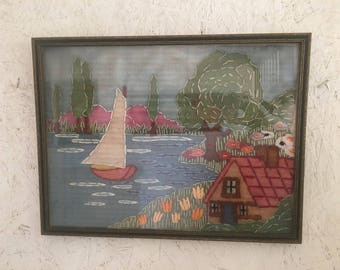 Vintage Mid Century Seascape Crewel Embroidery 1940s 1950s Sailboat and Home Framed