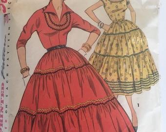 Vintage 50s Squaw Dress Pattern 1954 Simplicity 4733 Size 12 Bust 30
