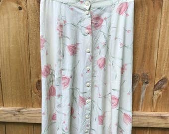 Vintage 90s Floral Rayon Midi Skirt / Floral Pale Yellow Button Down Midi Skirt / 90s Grunge Floral Skirt