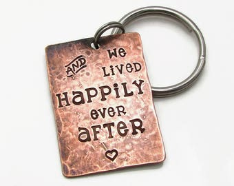 Wedding Gift, Personalized Anniversary Gift, Boyfriend Gift, Gift For Her, Personalized Keychain, Happily Ever After, 7th Anniversary Gift