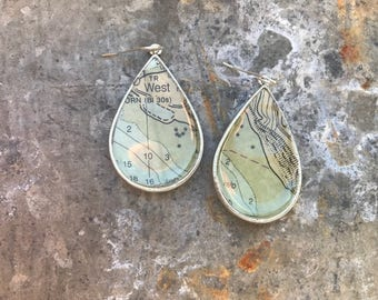 Silver Vintage Nautical Chart One of a Kind Earrings