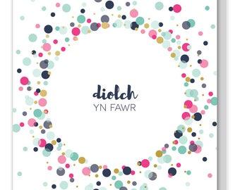 Welsh Thank you card 'Diolch yn fawr' / Cerdyn Diolch Cymraeg