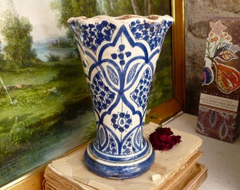 Moroccan vintage Vase -  French Pottery - Moroccan Pottery - mediterranean Blue pottery- Moroccan Patio -