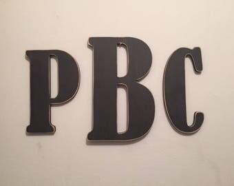 Wooden Wall Letters - Set of 3 - initials - 20cm, 15cm - Roman Font, various colours available, Bernard Font
