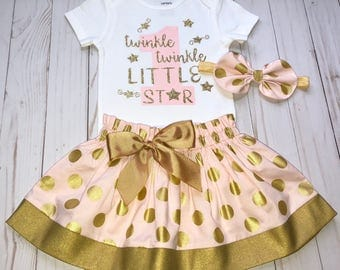 Twinkle Twinkle Little Star First Birthday Outfit, Cake Smash Outfit, Baby Girl 1st Birthday Outfit, Knot Bow Headband, Onesie Skirt Set