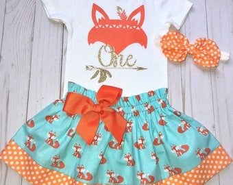 Wild One Fox First Birthday Outfit, Cake Smash Outfit, Baby Girl 1st Birthday, Knot Bow Headband, Onesie Skirt Set, Woodland Theme Birthday