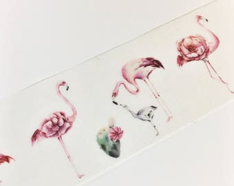 Gorgeous Watercolor Floral Flamingos Cacti Washi Tape 11 yards 10 meters 30mm