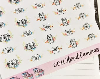 0011 Watercolor Floral Hand Drawn Cameras Sheet of Stickers Planner Stickers Erin Condren Life Planner Happy Planner Accessories