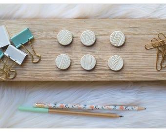 Hand Stamped Wood Grain Magnet Set | Gold Ink | Wood Magnets