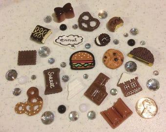 I give you a Hamburger Decoden kit collection chocolate tones rainbow rhinestones kawaii phone case decoration
