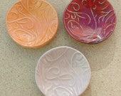 Reserved for Ofry orange ring dish - Ceramic ring holder - Trinket bowl -  Handmade stoneware tealight holder - Ceramic small dish