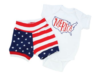 Fourth of July Baby Boy - 4th of July Baby Boy - Baby Boy 4th of July Outfit - Merica Bodysuit - American Flag Shorts - Baby American Flag