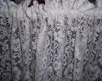 "Pair vintage gauze lace curtain panels, J C Penney off white ivory victorian style 84"" x 56"" ea"