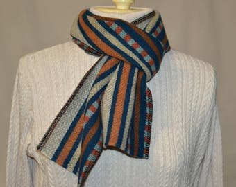 Scarf mens or womens Chimayo Scarf handmade of Pendleton Wool mid-weight fabric striped geomtetric scarf navy blue and rust perfect Fall