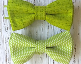 READY TO SHIP (size 3-6 yo), lime bow tie, green bow tie, chartreuse bowtie, boys bowtie, boys green bowtie, green and white bowtie