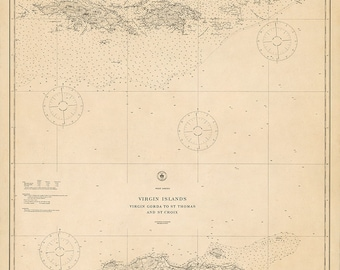 1921 Nautical Chart of the Virgin Islands