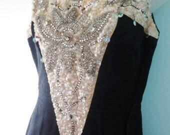 Vintage Beaded Dress Black Ivory Long Rhinestones Sequins Dressy Formal Occasion
