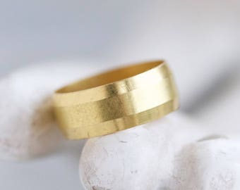 Brass Wedding Band Ring or Pinky Finger - Antique Wide Golden Ring -  Size 4