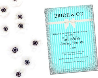 PRINTABLE Bride and Co. invitation / Bride and Co shower / breakfast at tiffany shower / printable bridal shower / aquamarine shower