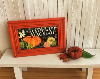 """Miniature Fall Picture That Says """"Harvest"""" With Cute Pumpkins And Leaves In Handmade Frame - Perfect For Your Dollhouse For Autumn!"""