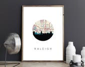 Raleigh NC map art | Raleigh skyline art print | Raleigh North Carolina art | Raleigh art print | North Carolina map art | Raleigh print