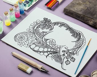 Adult Coloring Page Zentangle