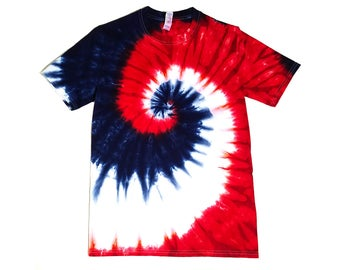 Mens Red, White, and Blue Tie Dye Shirt, 4th of July Shirt, Standard and Plus Sizes, Patriotic Colors, Eco-friendly Dyeing