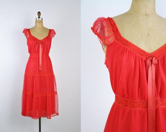 60s Red Slip Dress / Wedding Nightgown / Valentines Day / Red / 1960s / Pin up / Bridal / 50s /Vintage Nightgown / Boudoir/ Size M/L