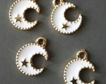 6pcs-Moon star charm-enamel Charm-white color