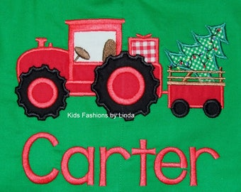 Christmas Green/Red Longalls with  Tree Tractor design