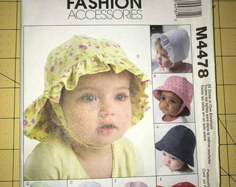McCalls Pattern M4470   Baby Bonnets and Hats  Pattern   Destash  NEW Never Used