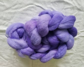 "4oz corridale wool roving hand dyed for spinning yarn making needle felting fiber arts supplies medium to light purple ""Violetta"" colorway"