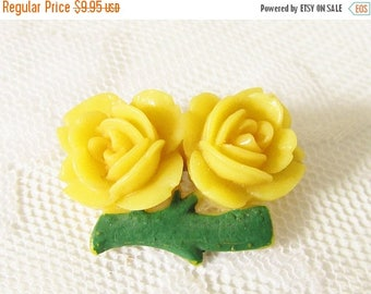 ON SALE Yellow Celluloid Roses Brooch signed Japan