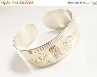 ON SALE Sterling Silver Etched Cuff Bracelet S Coat of Arms 1930s
