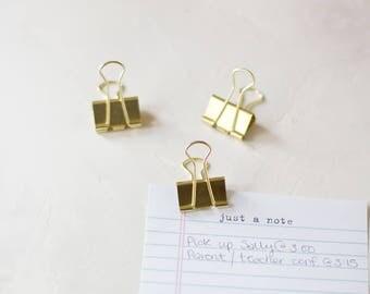 Gold Large Metal Binder Clips - 6 pc