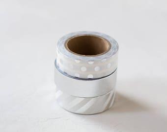 Silver Foil Metallic Washi Tape Set - 3 pc - Polka Dot / Solid / Diagonal Stripe