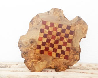 Unique Olive Wood Rustic Chess Board Set, Personalized Wood Natural Edges Custom Engraved Rustic Wooden Chess game , Chessboard, Dad gift
