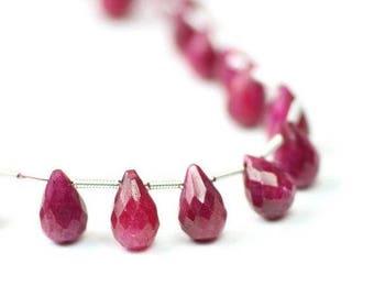 SUMMER SALE Ruby Faceted Teardrop Briolettes 1 Focal Raspberry Red Precious Gemstone July Birthstone
