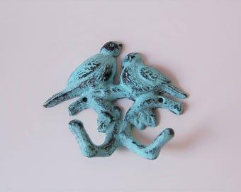Cast Iron Bird Hooks Turquoise Shabby Chic Double