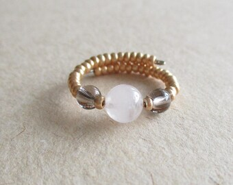 Rose quartz gemstone seed beads memory wire beaded ring