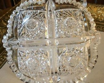 Vintage American Brilliant Period Cut Glass Dish Clariton
