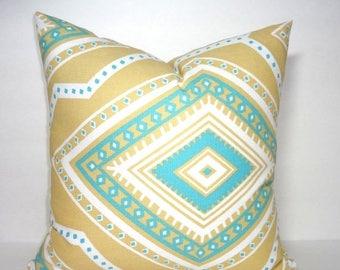 FALL is COMING SALE Decorative Accent Pillow Cover Gita Coastal Blue Saffron Yellow Geometric Pillow Cover Choose Size