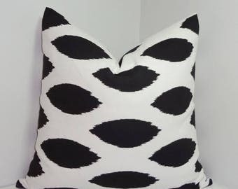 FALL is COMING SALE Black & White Ikat Chipper Decorative Pillow Cover Black Ikat Print Throw Pillow Cover All Sizes